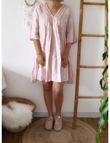 Robe 100 % lin rose pale poudrée femme col V decolleté ample lose cintrée blousée robe courte manches mi longues made in italy
