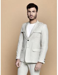 Veste saharienne homme en lin et coton beige veste beige clair