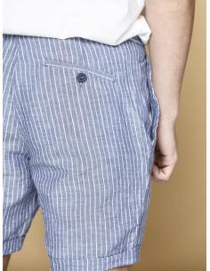Short bermuda homme en lin et coton rayé bleu