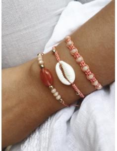 Lot de 3 bracelets BOHÈME en perles et coquillage cauris