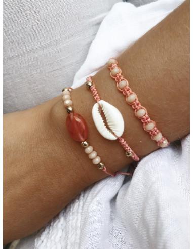 Ensemble de bracelet en perle de rocaille COQUILLAGE CAURIS ROSE pour un style bohème chic lot de bracelet NOEUD COULISSANT