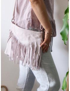 Sac franges femme style indien en cuir - Rose pale