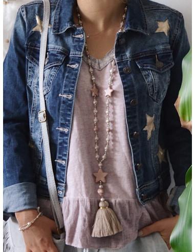 Sautoir fantaisie en perles transparentes sautoir pompon boheme rose avec pendentif étoiles fantaisie boheme chic long collier