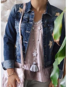 Sautoir fantaisie en perles transparentes sautoir pompon boheme gris avec pendentif étoiles fantaisie boheme chic long collier