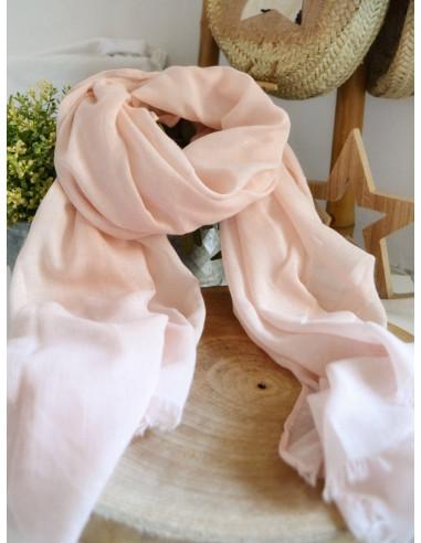 Foulard fluide uni avec petites paillettes - Rose