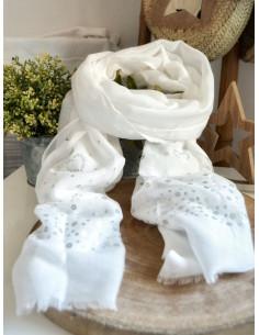 Foulard fluide motif COEURS et SEQUINS - Blanc