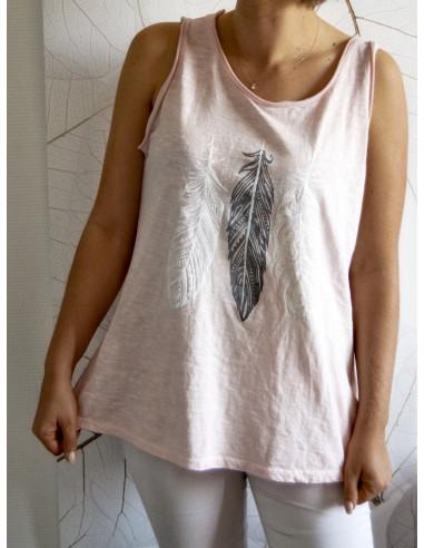 Débardeur femme bohème chic motif 3 plumes nacrées en relief t shirt ROSE PALE POUDRÉ en coton made in italy sans manche