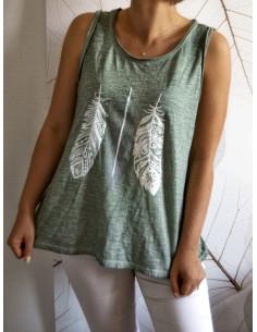 Débardeur femme bohème motif plumes nacrées en coton - Kaki