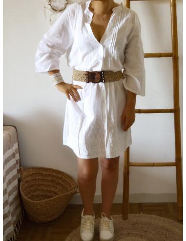 Robe Boheme Blanche 100 Coton Ample Col V Mao Avec Broderie Anglaise