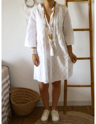 Robe blanche col V mao liquette coton fabriquée en inde voile de coton robe blanche broderie fleurs robe été boheme chic