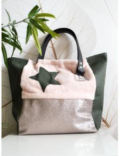 """Sac cabas """"STAR"""" étoile - Fausse fourrure pilou pilou rose pale, tissu pailleté et simili cuir kaki effet ecailles"""