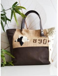 nature et lin sac CABAS EN TOILE de jute AVEC ETOILE chiffre numero lettre simili cuir cuir vieilli et tissu vache