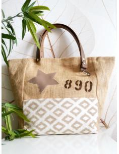 """Sac cabas """"STAR"""" étoile, lettre N&L et numéro - Toile de jute et tissu motif losange"""