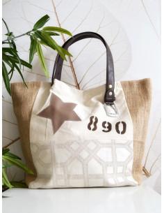 """Sac cabas """"STAR"""" étoile, lettre N&L et numéro - Toile beige, jute et tissu motif géométrique"""