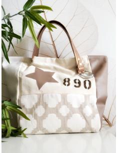 """Sac cabas """"STAR"""" étoile, lettre N&L et numéro - Toile beige, simili cuir et tissu motif baroque"""