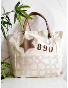 """Sac cabas """"STAR"""" étoile, lettre N&L et numéro - Toile beige et tissu motif géométrique"""