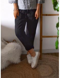 Pantalon femme 100 % lin retroussable liseré broderie - Noir