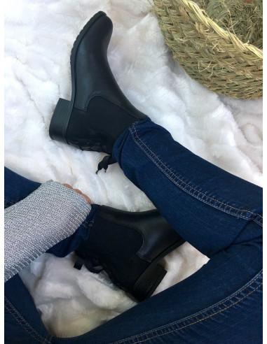 Bottines chelsea noir femme cuir suedine tissu suedé avec ruban petit talon plate bottines noires fine tendance avec ruban noire