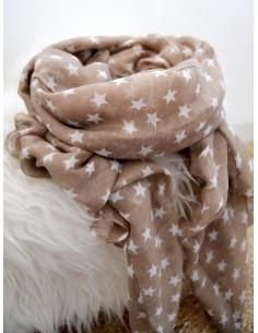 Foulard fluide motif étoiles blanches - Taupe