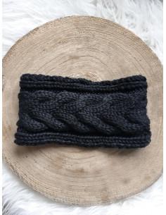 Bandeau cheveux femme hiver tressé avec boutons - Noir