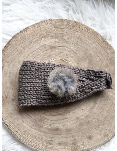 Bandeau cheveux femme hiver deux pompons avec boutons - Taupe