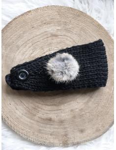 Bandeau cheveux femme hiver deux pompons avec boutons - Noir