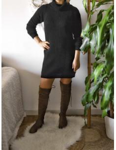 Robe pull avec laine col roulé femme hiver noir