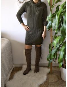 Robe pull avec laine col roulé femme hiver kaki