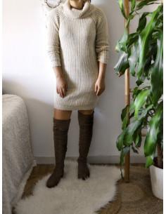 Robe pull avec laine col roulé femme hiver beige