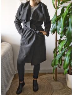 Manteau trench femme avec grand col et ceinture - Gris foncé