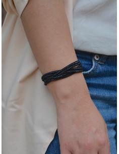 Bracelet femme tressé en suédine avec strass - Noir