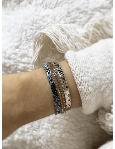 Manchette aimantée avec lanières serpent Doré et argenté strass. Bracelet magnétique avec aimant