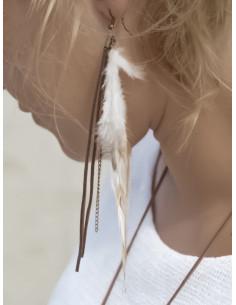 Boucles d'oreilles vraies plumes