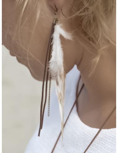 Boucles d'oreilles pendantes vraies plumes bohème hippie chic