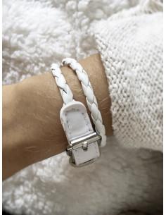 Bracelet double tour tressé - Blanc