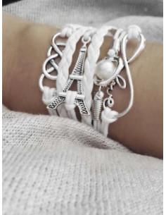 Bracelet multirangs coeur perle - Blanc