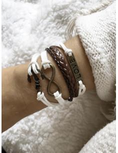 Bracelet multirangs bicolore en suédine - Blanc/Marron