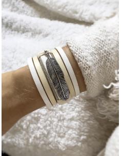 Manchette aimantée bracelet cuir multi lanières avec plume - Blanc
