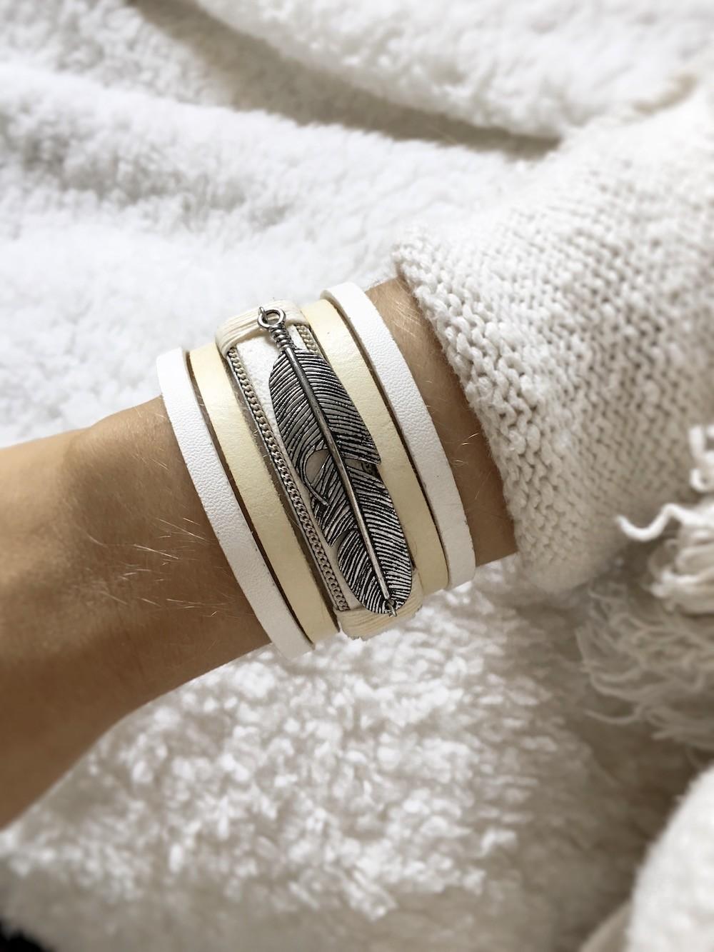bracelet cuir plume