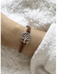 Bracelet unisexe porte bonheur suédine arbre de vie - Marron