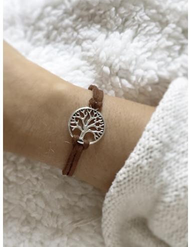 Bracelet suédine arbre de vie marron bijou fantaisie femme