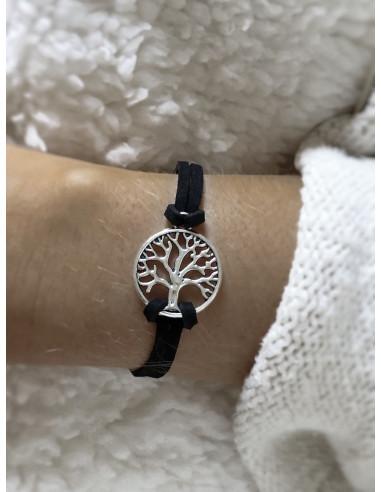 Bracelet unisexe porte bonheur suédine arbre de vie - Noir