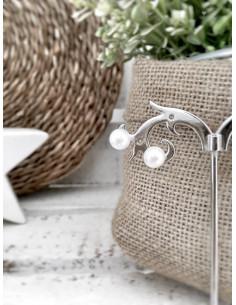 Boucles d'oreille perle blanche fantaisie - Petite
