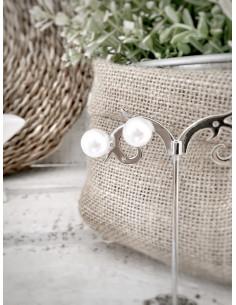 Boucles d'oreille perle blanche fantaisie - Grosse