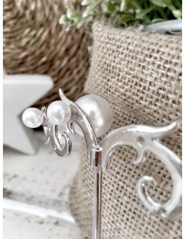 Boucle d'oreille perle blanche fantaisie pas cher - Puce grosse perle