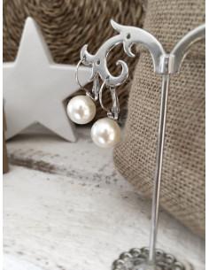 Boucles d'oreilles pendantes avec perle ronde - Argenté