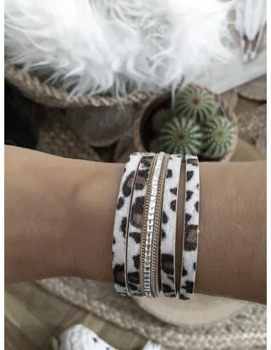 Manchette aimantée bracelet multi lanières LÉOPARD