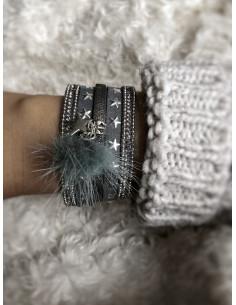 Manchette aimantée bracelet étoiles et pompon - Anthracite