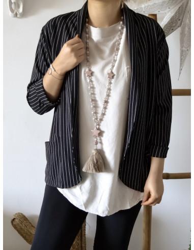 Veste blazer noir pour femme rayures blanches veste blazer rayé manches 3/4 2 poches made in italy