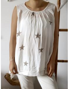 Débardeur femme long motif étoile grande taille beige sequins coton